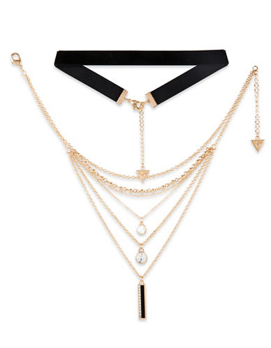 Guess Fashionably Tort Crystal Multi-Strand Choker-GOLD-One Size