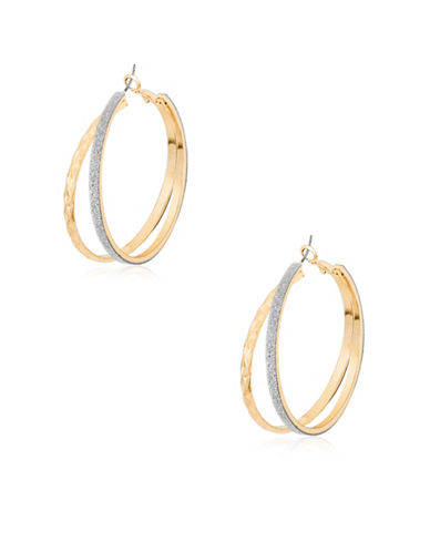 Guess Metallic Metals Hoop Earrings-GOLD-One Size