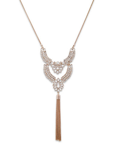Guess Crystal Tassel Necklace-GOLD-One Size