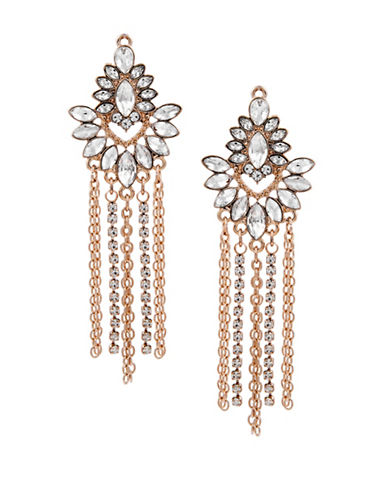 Guess Crystal Statement Fringe Drop Earrings-GOLD-One Size