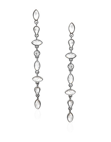 Guess Crystal Linear Drop Earrings-GREY-One Size