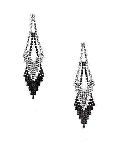 Guess Crystal Chevron Drop Earrings-GREY-One Size