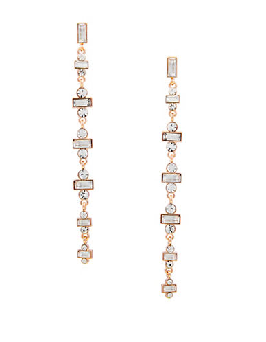 Guess Crystal Statement Linear Earrings-GOLD-One Size