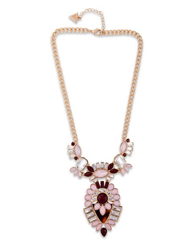 Guess Fashionably Tort Crystal Statement Necklace-GOLD-One Size
