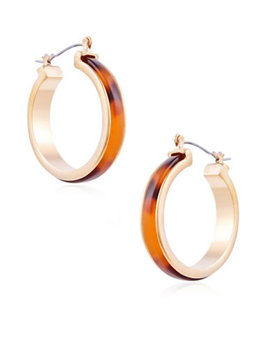 Guess Fashionably Tort Crystal Hoop Earrings-GOLD-One Size