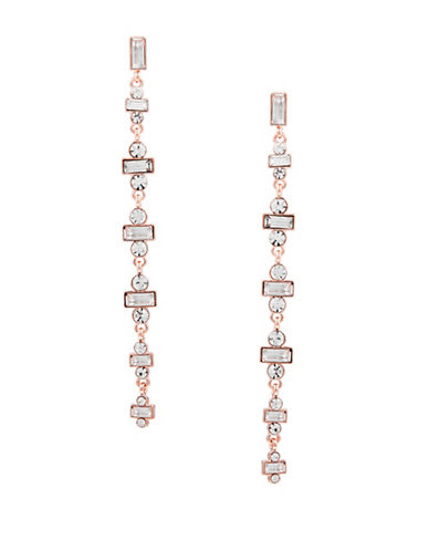 Guess Crystal Linear Drop Earrings-PINK-One Size