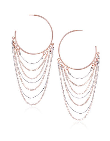 Guess Fashionably Tort Multi-Chain Hoop Earrings-PINK-One Size