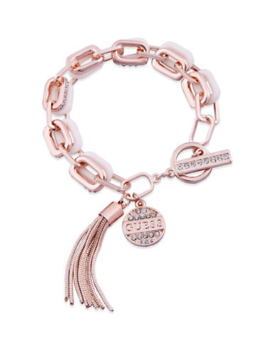 Guess Spring Whites Crystal Tassel Toggle Bracelet-ROSE GOLD-One Size