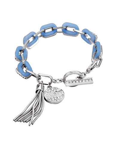 Guess Spring Whites Crystal Tassel Toggle Bracelet-SILVER-One Size