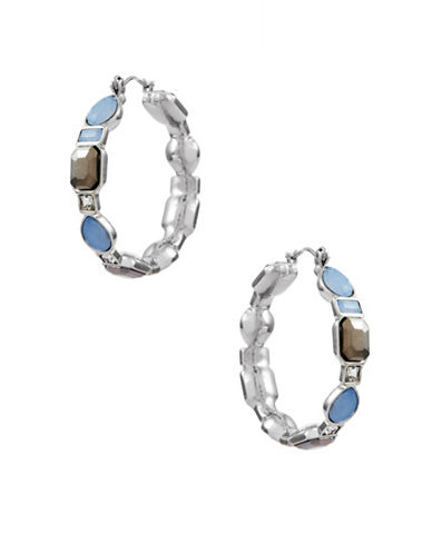Guess Spring Whites Crystal Hoop Earrings-SILVER-One Size