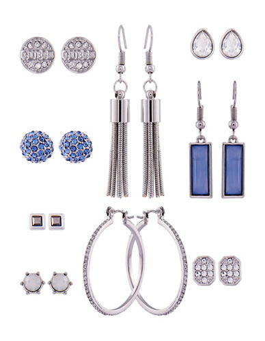 Guess Spring Whites Set of Nine Crystal Geometric Earrings-SILVER-One Size