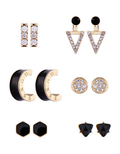 Guess Status Queen 2017 Set of Six Crystal Stud Earrings-GOLD-One Size