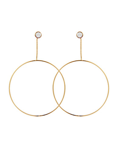 Guess Earring Update Crystal Circle Drop Earrings-GOLD-One Size