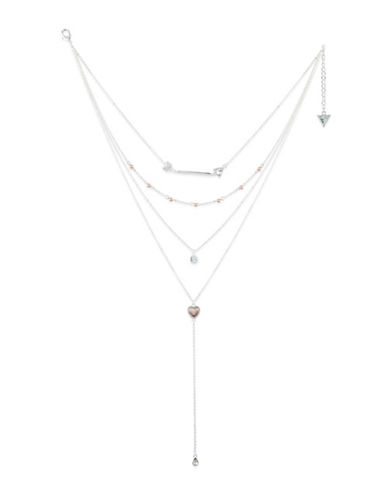 Guess Crystal Multi-Strand Necklace-SILVER-One Size