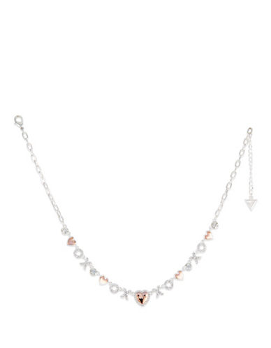 Guess Crystal XOXO Necklace-SILVER-One Size