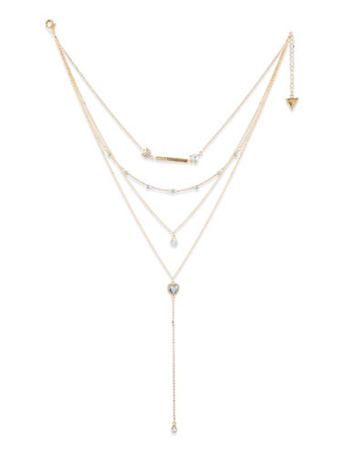 Guess Crystal Multi-Strand Necklace-GOLD-One Size