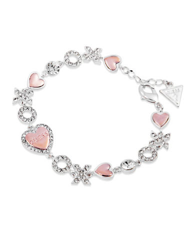 Guess Hearts and XOXO Crystal Bracelet-SILVER-One Size