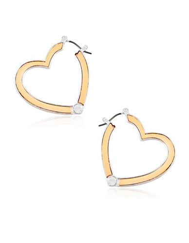 Guess Crystal Heart Hoop Earrings-GOLD-One Size