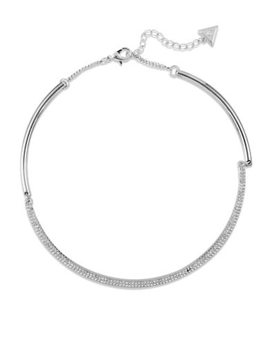 Guess Crystal Choker Necklace-SILVER-One Size