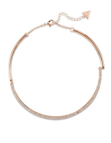 Guess Crystal Choker Necklace-ROSE-One Size