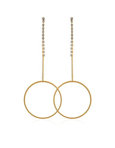 Guess Crystal Drop Earrings-GOLD-One Size