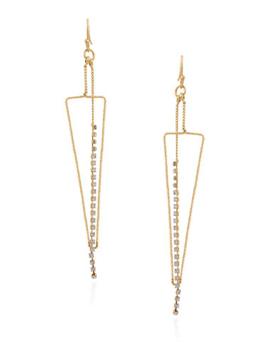 Guess Crystal Drop Triangle Earrings-GOLD-One Size