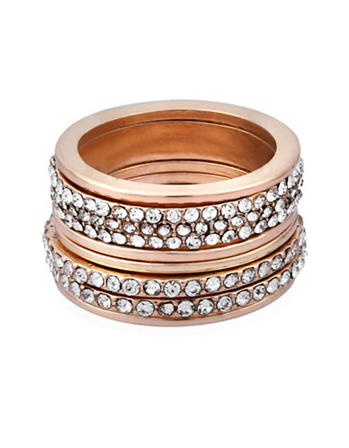 Guess Seven-Piece Crystal Ring Set-GOLD-7