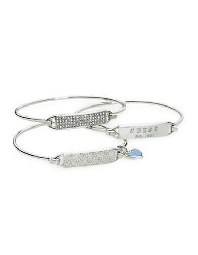 Guess 3-Piece Silver Tension Bangle Bracelet Set-SILVER-One Size