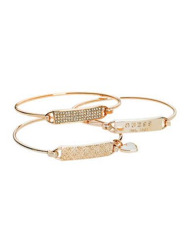 Guess 3-Piece Rose Gold Tension Bangle Bracelet Set-ROSE-One Size