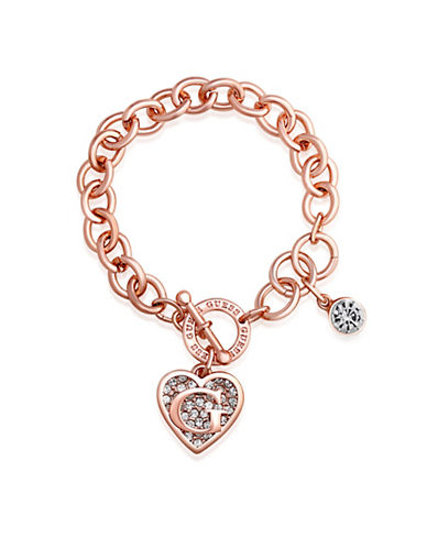 Guess Rose Gold Logo Heart Charm Toggle Bracelet-ROSE-One Size