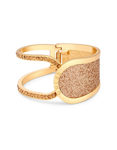 Guess Gold Glitter and Crystal Hinge Bracelet-GOLD-One Size