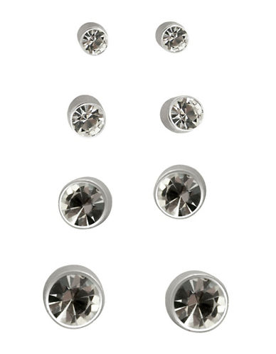 Guess Four Pair Stud Earrings Set-SILVER/CRYSTAL-One Size
