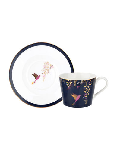 Portmeirion Chelsea Porcelain Tea Cup and Saucer-NAVY-One Size