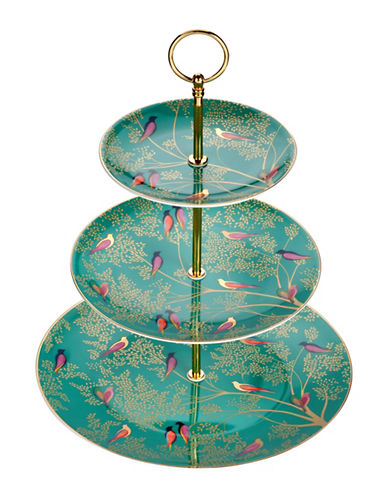 Portmeirion Chelsea Porcelain Three Tier Cake Stand-GREEN-One Size