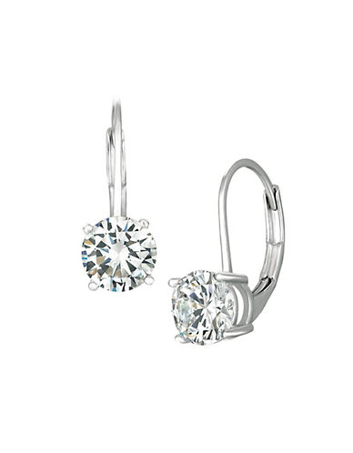 Crislu 2.00 cttw Brilliant Cut Cubic Zirconia Stud with Lever Back-SILVER-One Size