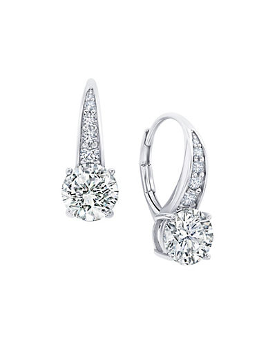 Crislu 3.00 cttw Cascade of Brilliant Cut Cubic Zirconia Pave Drop Earrings-SILVER-One Size