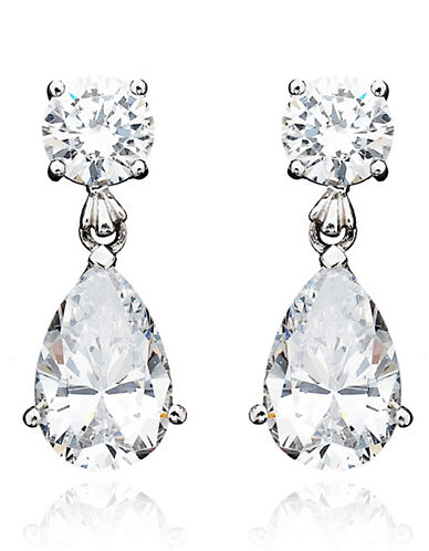 Crislu 8.00 cttw Round Stud and Pear Shaped Cubic Zirconia Drop Earrings-SILVER-One Size