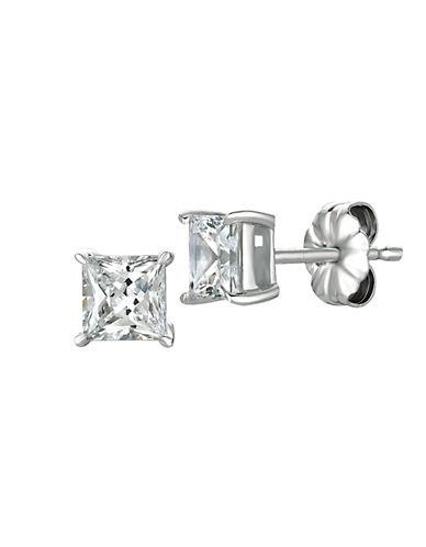 Crislu 150 Cttw Princess Cut Cubic Zirconia Stud Earring-SILVER-One Size