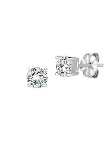 Crislu 1.00 cttw Brilliant Cut Cubic Zirconia Stud Earring-SILVER-One Size