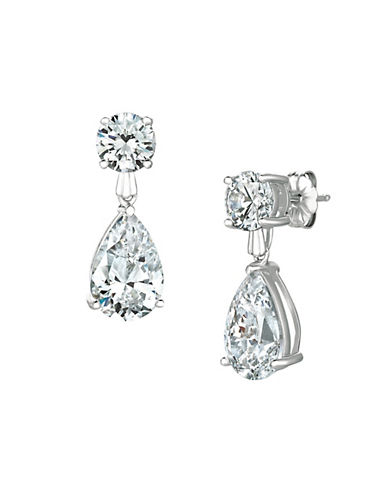 Crislu 3.00 cttw Round Stud and Pear Shaped Cubic Zirconia Drop Earrings-SILVER-One Size