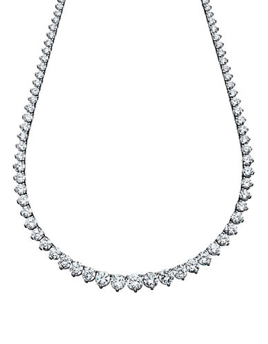 Crislu 25.80 Cttw Riviera Tennis Necklace With Graduating Round Cut Cubic Zirconia Stones-SILVER-One Size