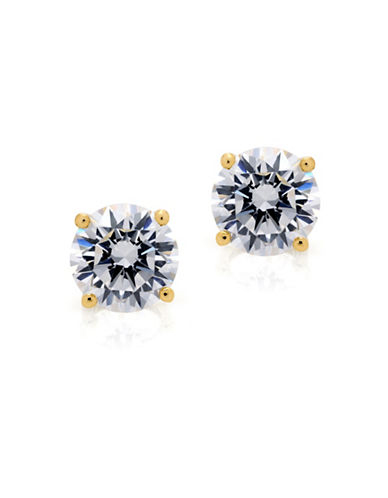 Crislu Classic Core Solitaire Brilliant Crystal and Sterling Silver Earrings-GOLD-One Size