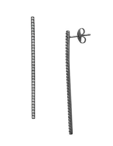 Crislu Hematite Stix Long Earrings-GREY-One Size