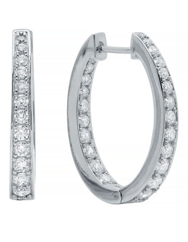 Crislu Halo Platinum Plated Cubic Zirconia Drop Earring-SILVER-One Size