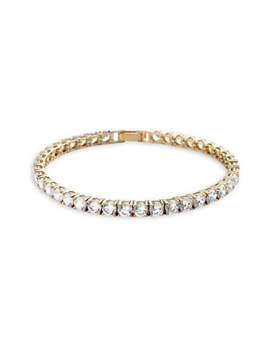 Crislu Classic Core Large Brilliant 18K Gold Tennis Bracelet-GOLD-One Size