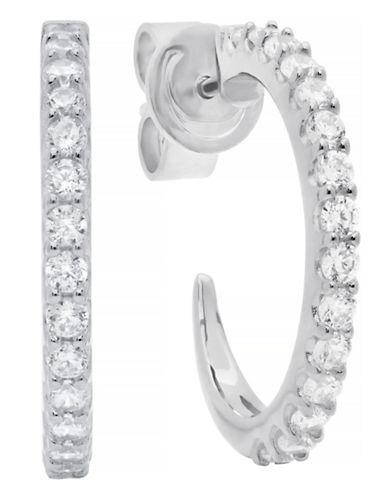 Crislu Gift Items Sterling Silver Cubic Zirconia Hoop Earring-SILVER-One Size