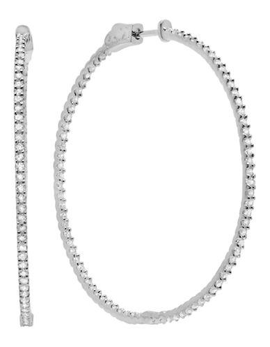 Crislu Diamonds on the Bar Sterling Silver Cubic Zirconia Hoop Earring-SILVER-One Size