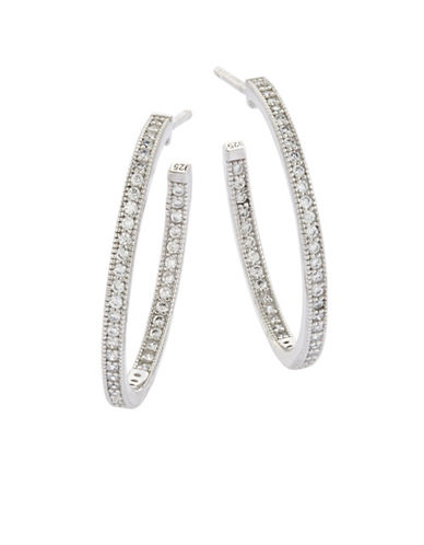 Crislu Pave Platinum Hoop Earrings-PLATINUM-One Size