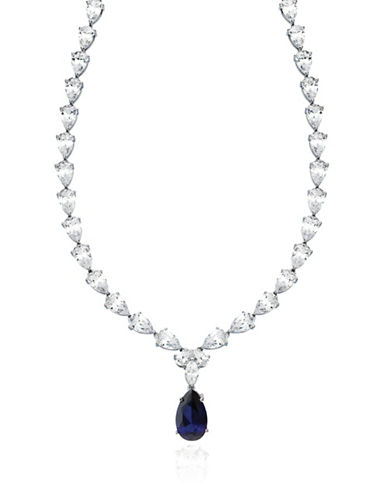 Crislu Sapphire and Platinum-Plated Sterling Silver Tennis Necklace-SAPPHIRE-One Size