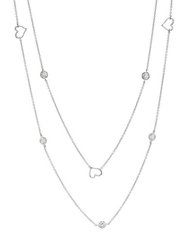 Crislu Platinum and Sterling Silver Open Heart Long Necklace-SILVER-One Size